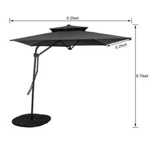 Garden 8.2X8.2 FT Rectangular Offset Umbrella with Hand Push, 4 Steel Ribs (Coffee) pictures & photos