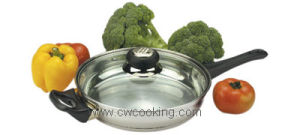 24cm Stainless Steel Frypan with Lid pictures & photos