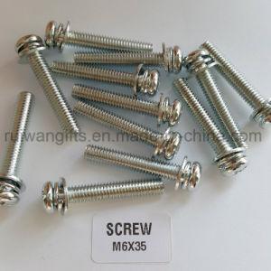 Steel Pan Head Three Parts Nickel Combination Screw, Screw M6X35 pictures & photos