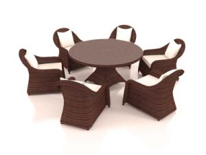 Well Furnir T-060 Luxurious Round Rattan Furniture Range Wicker Dining Sets pictures & photos