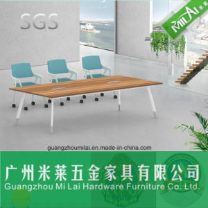 Straight Design Office Furniture Meeting Table with Circular Metal Leg pictures & photos