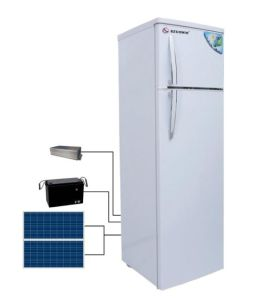 Double Door Solar Panel Power Charging Refrigerator with AC Adaptor pictures & photos