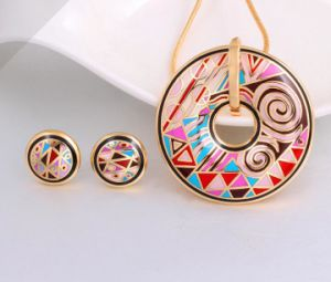 Fashion Steel Enamel Earring Pendant Necklace Jewelry Set pictures & photos