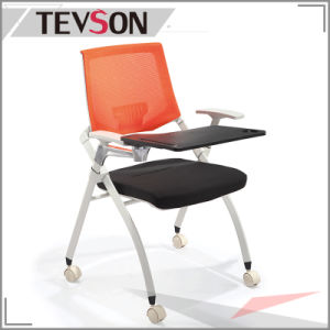 Office Meeting Room Folding Seat Bag Training Mesh Chair with Tablet pictures & photos