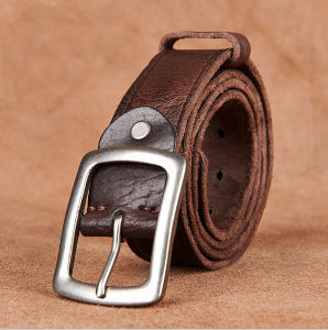 Men Leather Belt, Maroon Belt Genuine Cow Leather pictures & photos