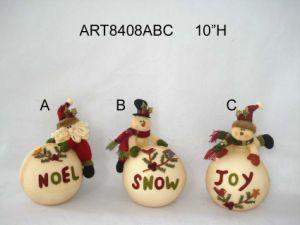 Pompom+Button Legged Christmas Santa, Snowman Decoration, 3asst pictures & photos