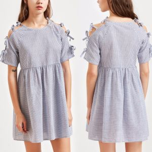Fashion Women Leisure Casual Stripe Bandage Shirt Dress pictures & photos