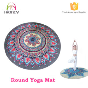 Fashion Design Custom Printed Nutural Rubber Round Yoga Mat for Beach Travel Exercise pictures & photos