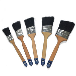Professional Black Bristle Blend Varnished Wooden Handle Flat Brush (GMPB025) pictures & photos