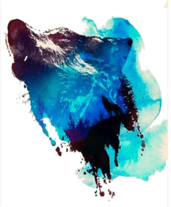 Watercolour Wolf Decal Temporary Tattoo Sticker Art Tattoo Sticker pictures & photos