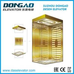 Luxury Golden Mirror Etching Stainless Steell for Small Machine Room Passenger Lift pictures & photos