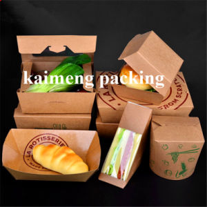 Food Grade Kraft Package Disposable Paper Container Box (paper container box)