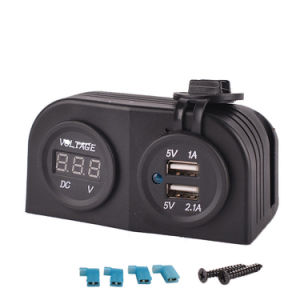 Car Dual USB Power Socket with Voltmeter Tent Charger pictures & photos
