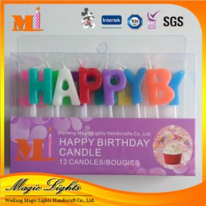 Happy Birthday Letter Candle with Shimmering Powder pictures & photos
