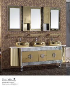 Modern Luxury Stainless Steel Bathroom Vanity with Triple/Three Basins on The Countertop pictures & photos