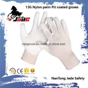 13G Nylon Palm Black PU Coated Gloves. pictures & photos