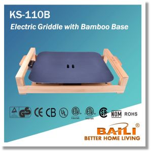Electric Griddle with Bamboo Base with Over-Heating Protection pictures & photos
