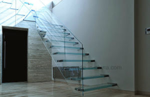 LED Light Floating Staircase Anti Slip Stair Tread Glass Staircase pictures & photos