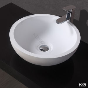 Kkr Hotel Project Solid Surface Vanity Round Bathroom Sink (170929) pictures & photos