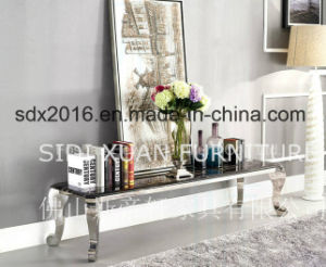Wholesale Price Modern Glass Marble Top Stainless Steel TV Stand in Home Furniture pictures & photos