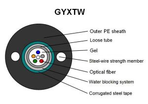 Fiber Optic Cable for Long Distance Communication and LAN 2-12fibers (GYXTW) pictures & photos