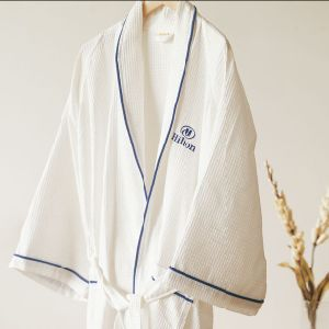 White Waffle Hotel Bathrobe with Embroidery Logo