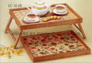 Folding Table for School Furniture/Computer Desk/PC/Desk/Food Tray/Fruit Traytea Tray/Kitchenware/Tableware/Homeware (LC-411B)