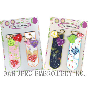 Pink & Blue Embroidered Bookmarks Pack with Embroidered Charms (00890252) pictures & photos
