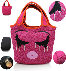 3 mm Fuchsia Fake Pearl Neoprene Lunch Bag with Handle pictures & photos