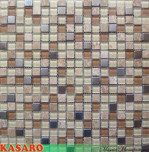Stainless Steel Glass Tile Stone Mosaic Interior Wall Tile (KSL124173)
