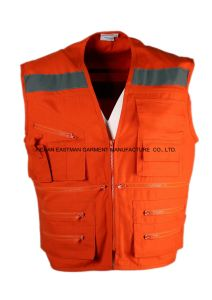 Workwear Multi Pockets Vest with Reflective pictures & photos