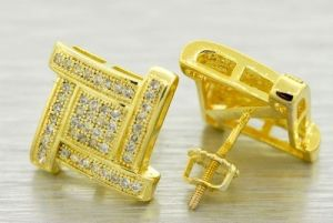 14k Gold Plated 12mm Simulated Lab Diamond Earrings Screw Mens Hiphop Micro Pave Foq903