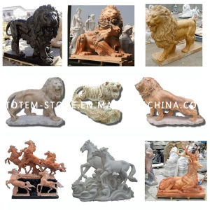 Garden Lion Statue, Animal Stone Sculpture, Marble Tiger Carving pictures & photos