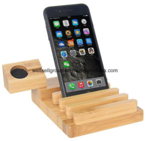 Bamboo Wood Charge Station for Apple Watch I Watch Iwatch Stand Holder with 3 USB Charger Port pictures & photos