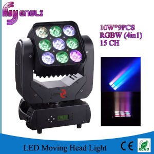 10W*9PCS 4in1 LED Stage Moving Head Matrix Light (HL-001BM) pictures & photos