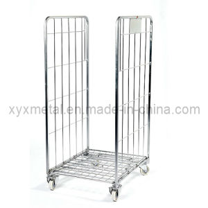 Two Doors Metal Hand Truck Mesh Roll Container pictures & photos