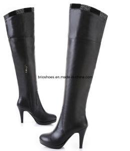 Fashion Leather Boots Winter Overknee Heel Boot
