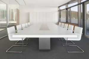 Fancy Meeting Room Curved Arc Big Acrylic Solid Surface Conference Table with HDMI Sockets pictures & photos