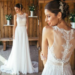 Lace Bridal Gowns Chiffon Garden Country Beach Wedding Dresses Z8054 pictures & photos