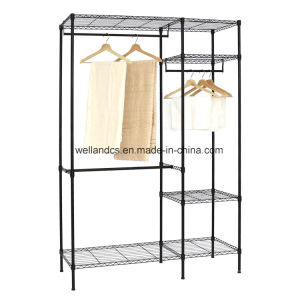 Black Coated Metal Bedroom Wardrobe Rack with Oxford Cloths Fabric Cover pictures & photos