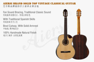 Aiersi Solid Top Cutway Spanish Classical Guitar pictures & photos