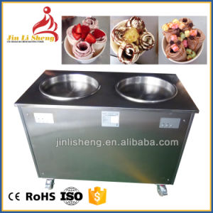 Pan Temperature Adjusted Roll Ice Cream Machine with 6 Topping Containers pictures & photos