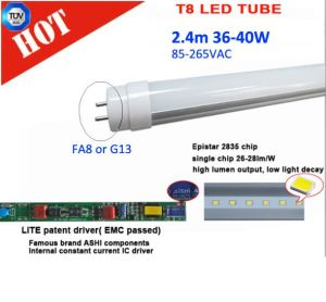 High Lumen Flicker Free 2.4m 36W/40W UL T8 LED Tube pictures & photos