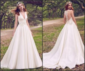Sleeveless Satin Ball Gown Beaded Appliqued Lace Simple Bridal Gown We116 pictures & photos