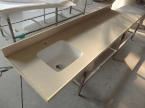 Artificial Stone Fabricated Kitchen Countertop with One Sink pictures & photos