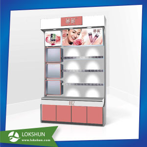High Quality Sturdy China MDF Display Rack with 4 Shelves Wooden Flooring Display Pop Display Stand for Personal Care Products pictures & photos