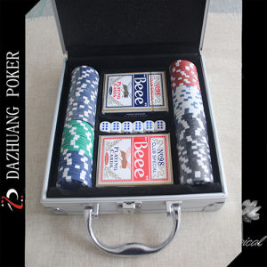 Dice and Poker Chip Set in Aluminum Box