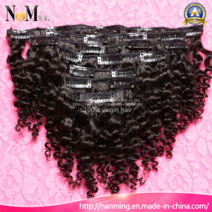 18 Inches Can Dye Any Color Clip in Natural Curly Brazilian Hair Extensions pictures & photos