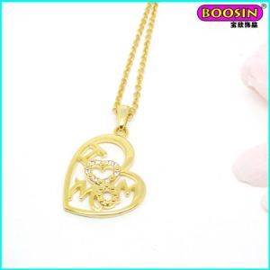 High Quality Love Mom Zinc Alloy Cheap Gold Pendant Necklace pictures & photos