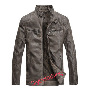Men Leisure Adult Leather Waterproof Brown Jacket (J-1614) pictures & photos